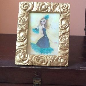 Gilded rose picture frame for 5x7 photo or message